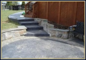Stamped Concrete Flagstone with Seating Walls