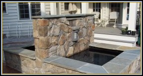 Stone Fountain with Flagstone Cap