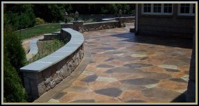 Stamped Concrete Flagstone, Stone Walls with Flagstone Cap