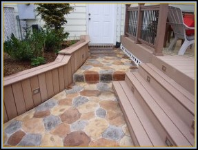 Composite Deck Stairs with Random Stone Patio