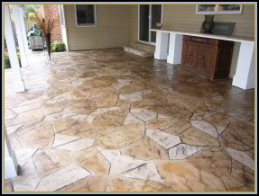Stamped Flagstone Patio with Acid Staining