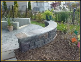 Stamped Ashler Slate with Block Style Stone Walls