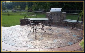 Stamped Concrete Random Stone Patio with Grill