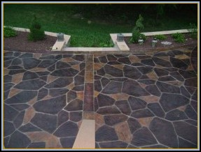 Stamped Flagstone with Acid Stain