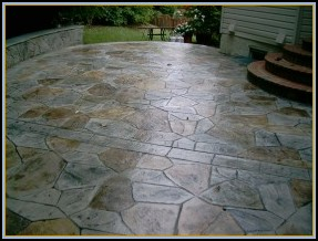 Stamped Flagstone Patio w/ Acid Staining