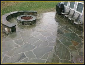 Stamped Flagstone Pool Patio with Acid Staining