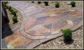 Stamped Concrete Flagstone Circle and Walkway with Acid Stain