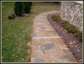 Stamped Concrete Flagstone Walkway with Acid Stain