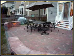 Paver Patio w/ Deck Steps and Walls