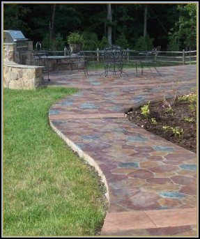 Stamped Concrete Random Stone Walkway with Acid Stain
