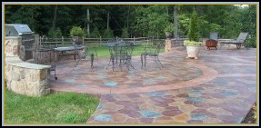Stamped Random Stone Patio with Built-in Grill