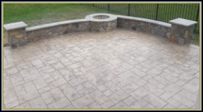 Stamped Ashler Patio with Walls and Firepit