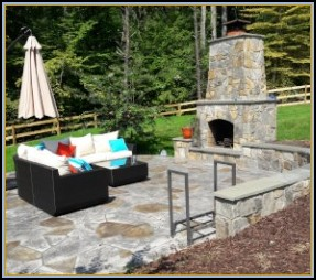 Stamped Flagstone and Fireplace