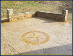Stamped Patio and Wall and Compass Art