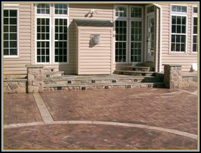 Stone Walls, Flagstone Steps with Built in Lights, Stamped Ashler Slate Patio with Borders