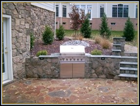 Stone Walls with Built in Grill