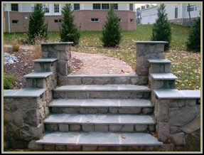 Stone Walls with Flagstone Steps