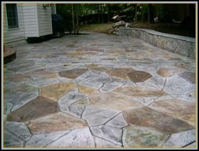 Stamped Flagstone with Acid Staining and Seating Wall